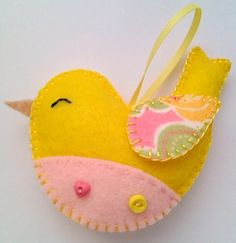 Handmade felt bird ornament by LITTLEFACTORYCRAFTS on Etsy