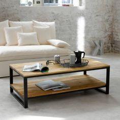 Table basse, double plateau, en noyer massif abouté et acier, Hiba, La Redoute