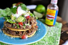 Double Decker Pork Carnitas + Refried Bean Tostadas