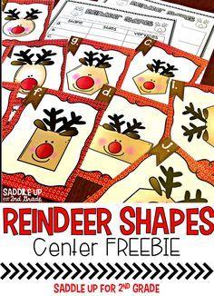 Reindeer Shapes: A Shape Center Preschool Lessons, Kindergarten Math, Classroom Activities, Preschool Activities, Shape Activities, Preschool Learning, Christmas Math, Preschool Christmas, Christmas Things