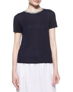 Short-Sleeve Embellished-Crewneck Sweater, Size: LARGE/12-14, Black - Magaschoni