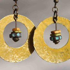 Yellow Earrings Ochre Patina Earrings Boho Earrings Bohemian Earrings Dangle Hoop Hammered Urban Earrings Native American Inspired Jewelry