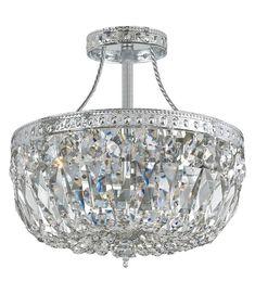 Crystorama 119-10-CH-CL-S 3-Lights Swarovski Elements Semi Flush Crystal Basket - Polished Chrome