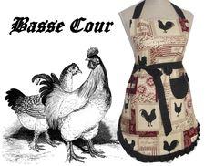 Creation Couture, Frou Frou, Coq, Bordeaux, Creations, Beige, Etsy, Retro Apron, Kitchens