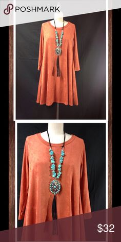 """Faux Suede Dress Pockets Boho Rust Pumpkin New So soft faux suede swing dress with side pockets.  Made in the USA. Semi loose fit with side pockets, round neckline, 3/4 length sleeves. Drapes well with nice stretch. Necklace sold separately in our closet.  Throw on some boots, and low belt. Super cute for fall and winter. Approx. measurements: length from shoulder down for the small - 32"""", med. 33"""", lrg 34.5"""". Laying flat from underarm to underarm S - 18"""", M-19"""", L-20"""".  More colors in our…"""