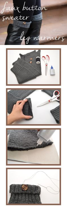 Simple DIY faux button sweater leg warmers that make great gifts! http://www.ehow.com/ehow-style/blog/make-a-pair-of-faux-buttoned-sweater-leg-warmers//?utm_source=pinterest&utm_medium=fanpage&utm_content=blog