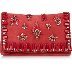 Matthew Williamson Embellished suede clutch (16 600 UAH) ❤ liked on Polyvore featuring bags, handbags, clutches, purses, bolsas, red, embellished handbags, embellished purses, matthew williamson and handbags purses