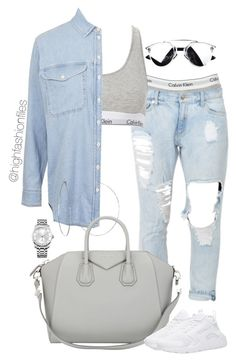 """Denim x Calvin"" by highfashionfiles on Polyvore featuring Calvin Klein, Topshop, Phyllis + Rosie, Givenchy and NIKE"