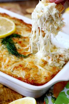 Lump crab meat, cheese, lemon and dill are baked to bubbly and gooey golden brown perfection. This Hot and Cheesy Crab Dip is scrumptious, rich, delicious and the ultimate party dip! Party Dips, Appetizers For Party, Crab Dip Recipes, Seafood Recipes, Cooking Recipes, Lump Crab Meat Recipes, Snow Crab Meat Recipe, Canned Crab Recipes, Gourmet