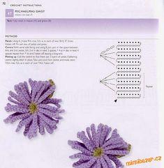 Book: 100 crocheted flowers and crochet . Crochet Flower Patterns, Crochet Patterns For Beginners, Crochet Blanket Patterns, Crochet Flowers, Irish Crochet, Knit Crochet, Crochet Cushions, Crochet Instructions, Crochet Hair Styles
