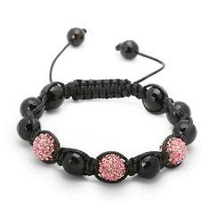 Ladies Adjustable Carnation Pink 3 CZ Black Diamond Cut Bead Jabari Disco Ball Bracelet King Ice. $29.99. Save 77% Off!