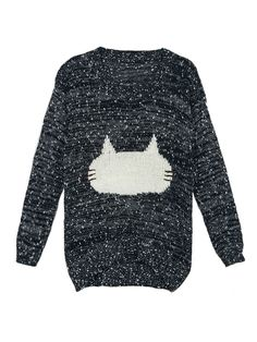 Black Jacquard Pattern Fluffy Cat Jumper | Choies