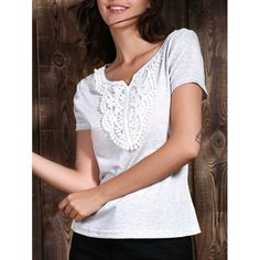 Chic Lace Spliced Short Sleeve V Neck T-Shirt For Women #jewelry, #women, #men, #hats, #watches