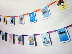 Mexican Loteria Cards Garland Wedding Paper Fiesta by ChanceyCo #Mexicanwedding #fiesta #Loteria