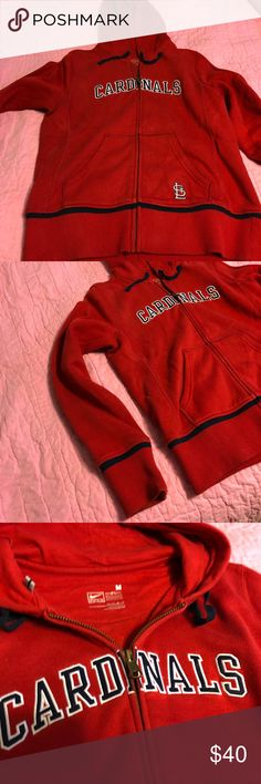 St. Louis Cardinals full zip hoodie St. Louis Cardinals full zip hoodie. Embroidery lettering. Great condition. Runs a tad small for a M. Will bundle with other Cardinals gear for discount. Nike MLB Tops Sweatshirts & Hoodies