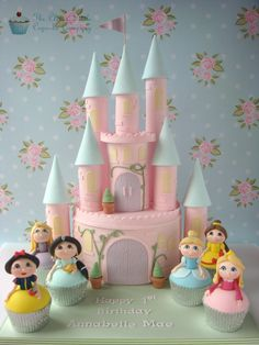 Princess Castle with Princess Cupcakes - Cake by The Clever Little Cupcake Company