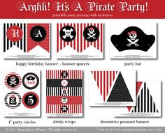 Arghh It's A Pirate Party - Printable Party Package Page 2  www.annajayneprints.etsy.com