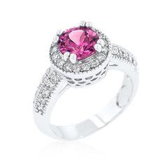 Fuchsia Halo Engagement Ring