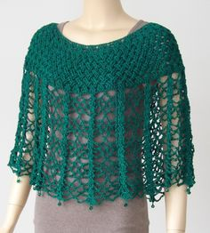 36 Irish Emeralds by Bonnie Barker This Pin was discovered by Ner PDF Crochet Pattern- Easy Stitch Crochet Cape and Capelet Visit the post for more. Crochet Scarves, Crochet Clothes, Crochet Vests, Crochet Shirt, Crochet Round, Easy Crochet Patterns, Crochet Capelet Pattern, Crochet Edgings, Crochet Motif