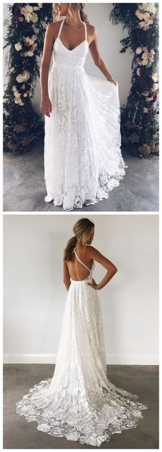 Lace Beach Wedding Dresses Ivory Long Maternity Summer Wedding Dresses AWD1036 #weddingdress #weddings #weddinginspiration #laceweddingdresses #backless#beachwedding #vintagewedding