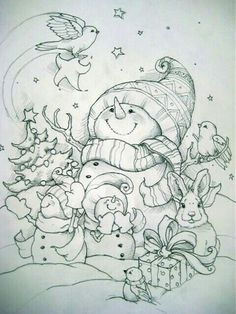 Christmas Coloring Pages by MommaJones Christmas Coloring Pages, Coloring Book Pages, Printable Coloring Pages, Coloring Sheets, Snowman Coloring Pages, Doodle Coloring, Mandala Coloring, Christmas Colors, Christmas Art