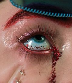 Isamaya French (make-up artist), art, make-up, eyes, red, glitter