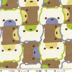 Bear fabric Close-Up - Green