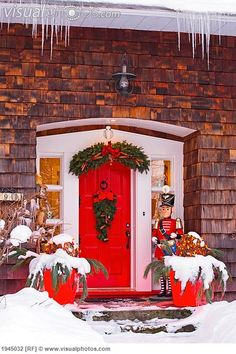 Christmas Decorations Around A Front Door; Knowlton Quebec Canada