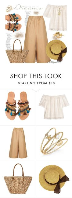 """A Walk on the Beach"" by dreamweevs ❤ liked on Polyvore featuring Elina Linardaki, H&M, Topshop, Charter Club, Straw Studios, C.R.A.F.T., Bling Jewelry, roadtrip, fashiontrend and fashionset"