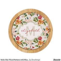 Girly Chic Floral Pattern with Monogram Name Cheese Platter
