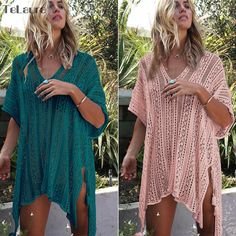 Knitted Pareo Beach Dress 2018 Bathing suit Cover Up Hollow Crochet Sexy Swimsuit Beach Tunic Plage Beachwear Cover-Ups Tunics Bathing Suit Dress, Bathing Suit Covers, Summer Dresses For Women, Suits For Women, Clothes For Women, Dress Summer, Beach Wear, Beachwear For Women, Swimsuit Cover