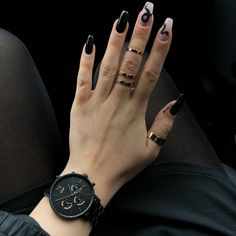 Uploaded by AtaDeniz✅. Find images and videos about square nailart&rings on We Heart It - the app to get lost in what you love. Edgy Nails, Aycrlic Nails, Grunge Nails, Stylish Nails, Swag Nails, Black Acrylic Nails, Simple Acrylic Nails, Best Acrylic Nails, Acrylic Nail Designs