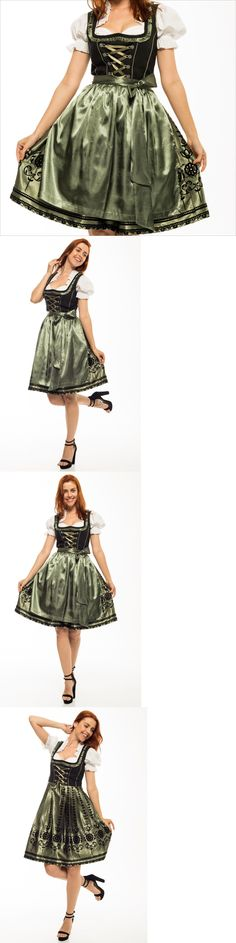 Dirndls 163143: Germany,German,Trachten,May,Oktoberfest,Dirndl Dress,3-Pc.,Sz 16.Olive Gr..Usa -> BUY IT NOW ONLY: $54.99 on eBay!