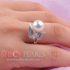 White Cultured Freshwater Pearl Ring , 10.0mm-11.0mm , AA+, 5301-FWR106 | ShecyPearls Ring