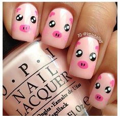 If you're looking to do seasonal nail art, spring is a great time to do so. The springtime is all about color, which means bright colors and pastels are becoming popular again for nail art. These types of colors allow you to create gorgeous nail art. Cute Nail Art Designs, Animal Nail Designs, Nail Designs For Kids, Pretty Designs, Pedicure Designs, Manicure Ideas, Farm Animal Nails, Animal Nail Art, Pig Nail Art