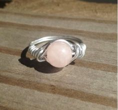 Rose Quartz Ring Silver Wire Wrapped by SoSheDidShop on Etsy