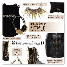 """""""ROCKER STYLE"""" by larissa-takahassi ❤ liked on Polyvore featuring Balmain, Giuseppe Zanotti, Anthony Vaccarello, NY&Lon MonnaLisa, Mara & Mine, gold, spikes, rock and balmain"""
