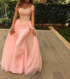 Pink Off-shoulder Beaded Lace Bodice Evening Dress With Overlay Skirt Prom Gown on Luulla