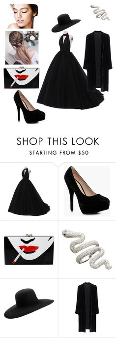 """some randomness"" by janethelesbian ❤ liked on Polyvore featuring Boohoo, Charlotte Olympia, Maison Michel and Jadicted"