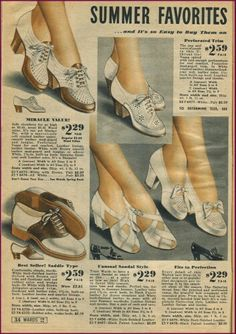 Ugh, I need to spend a day scanning new images :) Montgomery Wards 1940 Saddle Shoes, Shoe Boots, Retro Heels, Fashion Catalogue, Slipper Boots, Vintage Shoes, Fashion History, Character Shoes, Combat Boots