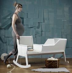 Rockid chair cradle - a great idea for the nursery room by Ontwerpduo / creative / baby chair Nachhaltiges Design, Smart Design, Interior Design, Milan Design, Rocking Chair Nursery, Baby Chair, Baby Furniture, Furniture Design, Children Furniture
