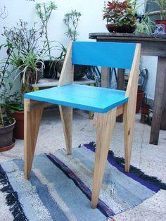 silla diseño original de madera reciclada respaldo bajo