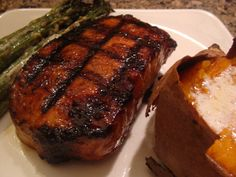 Grilled Honey-Teriyaki Pork Chops with sweet potato and asparagus