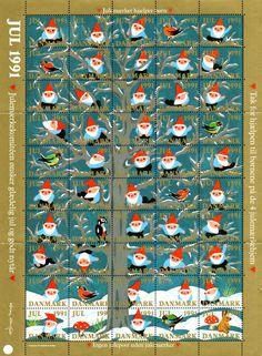 デンマーク・クリスマス・シール1991年 森で遊ぶ鳥と妖精たち Christmas Seal of Denmark