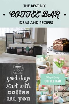 We have the Best DIY Coffee Bar Ideas and Recipes to spice up your home. See how to create the perfect home coffee bar for your kitchen! Coffee Nook, Coffee Bar Home, Coffee Bar Signs, Coffee Bars, Coffee Dessert, Bar Ideas, Decor Ideas, Marble Pound Cakes, Coffee Bar Station
