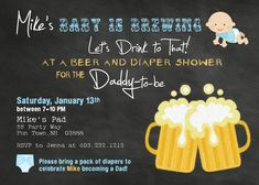 Beer and Diapers Baby Shower Invitation  by AsYouWishCreations4u