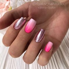 Ombre Summer Nails with Glitter