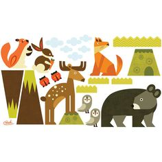 Found it at Wayfair - Woodsy Critters Peel and Place Wall Decal Set