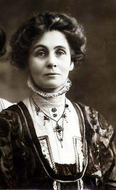 Emmeline Pankhurst, political activist and leader of the British suffragette movement.