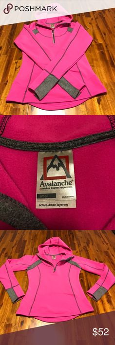 NWOT Avalanche Active Base Layer pullover New without tags Avalanche half zip active base layer | Never been worn | Super soft inside and out | 92% polyester, 8% spandex | Perfect pink color with grey accents | Large zip pocket on back big enough to fit iPhone plus with room to spare | Thumb holes in sleeves | Hood | This is PERFECT for hiking or going for a run on a cold night | Size Sm Avalanche Tops Sweatshirts & Hoodies